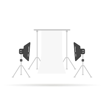 Photographic scene with softboxes. concept of monolight, dslr, movie, parasol, media, cinema model, octabox collection, hobby, show. flat style trend modern logo graphic design vector illustration
