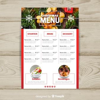 Photographic snowflake christmas menu template