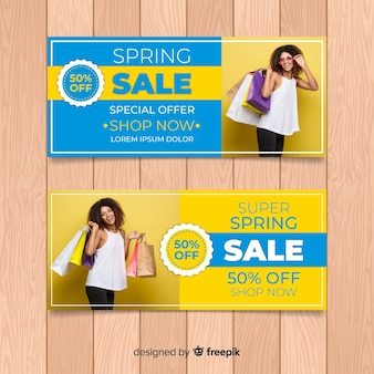 Photographic spring sale banner template