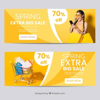 Photographic spring sale banner