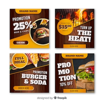Photographic square burguer banner