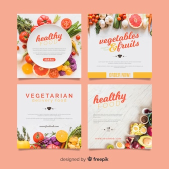 Photographic square healthy food banner