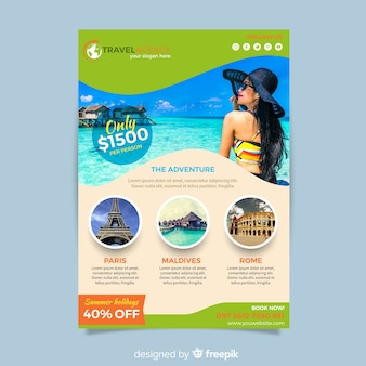 Photographic travel brochure template