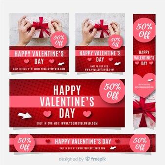 Photographic valentine sale banner set