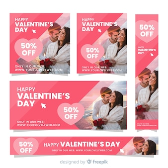 Photographic valentine sale banner set