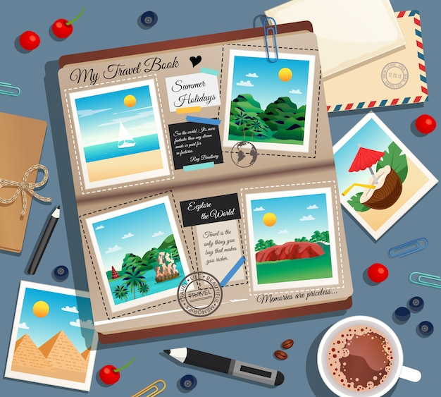 Photographs photo album postal envelope and cup of coffee cartoon illustration