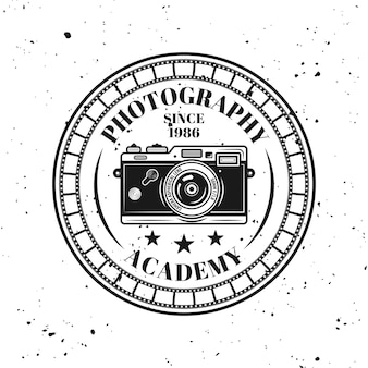 Photography academy vector round emblem, label, badge or logo in vintage monochrome style isolated on background with removable grunge texture