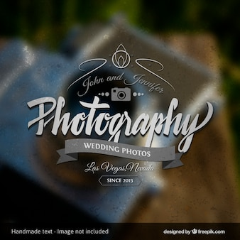 Photography badge with blurred background