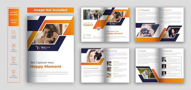 Photography bi fold brochure design template