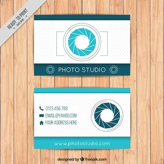 Photography business card in blue color