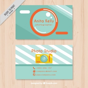 Photography business card, flat style