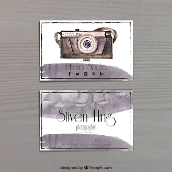 Photography business card, watercolor