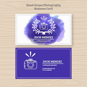Photography business card with watercolor