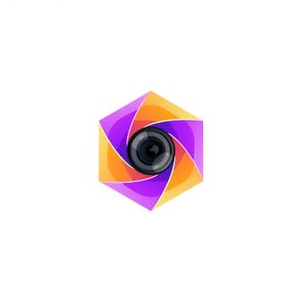 Photography color logo design vector