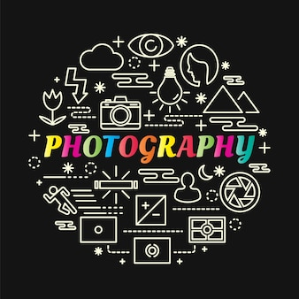 Photography colorful gradient with line icons set