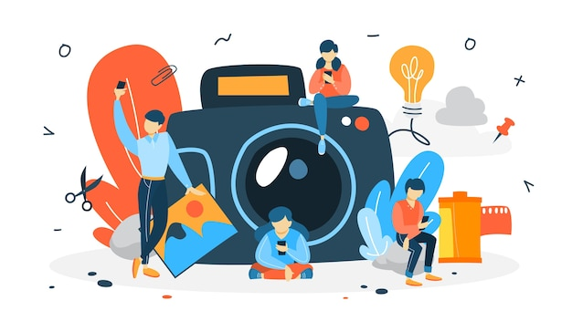 Photography concept. people make selfie. big camera on the background. artistic occupation and photography courses.    illustration