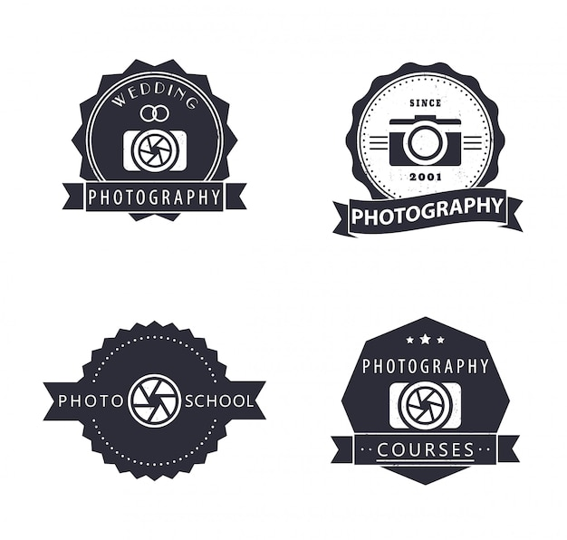 Photography, courses, photo school, photographer grunge logo, emblems, signs
