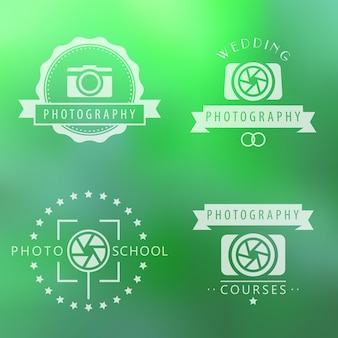 Photography, courses, photo school, photographer logo, emblems, signs on green blur background