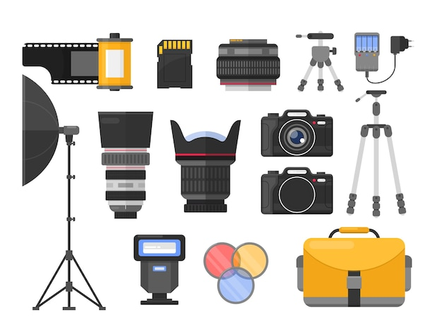 Photography equipment flat illustrations set. different camera lenses. professional photo studio accessories. softbox and tripods. photographer, cameraman tools. roll and sd memory card.