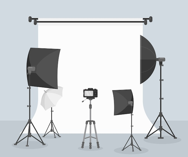Photography equipment flat  white background for taking picture camera lenses