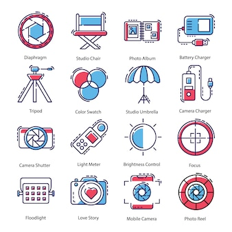 Photography equipment icons pack