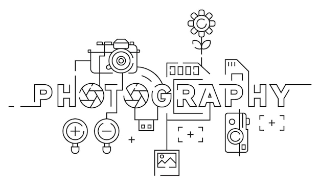 Photography flat line design