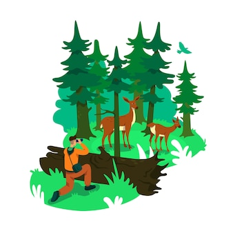 Photography in forest 2d web banner, poster. deers in conservation woods. wildlife photographer flat characters on cartoon background. national park printable patch, colorful web element