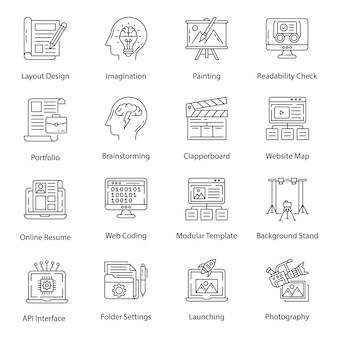 Photography and graphic art pack icons in line style