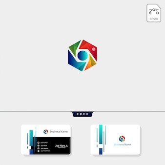 Photography hexagon logo template