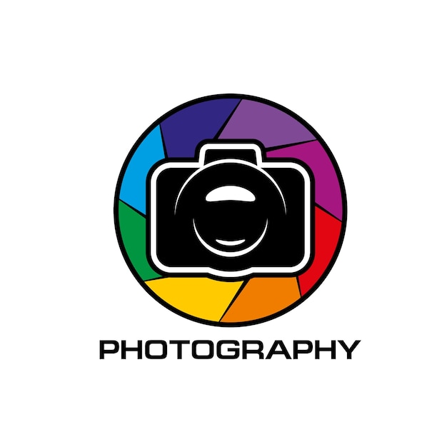 Photography icon, lens color diaphragm. camera or photo application