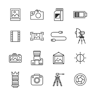 Photography icon pack, outline icon style