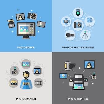 Photography icons flat