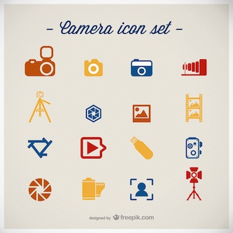 Photography icons set flat design
