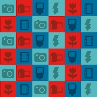Photography icons over squares background vector illustration