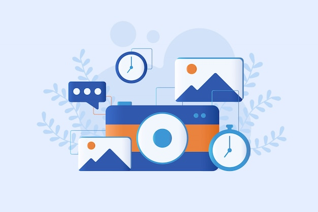 Photography illustration flat