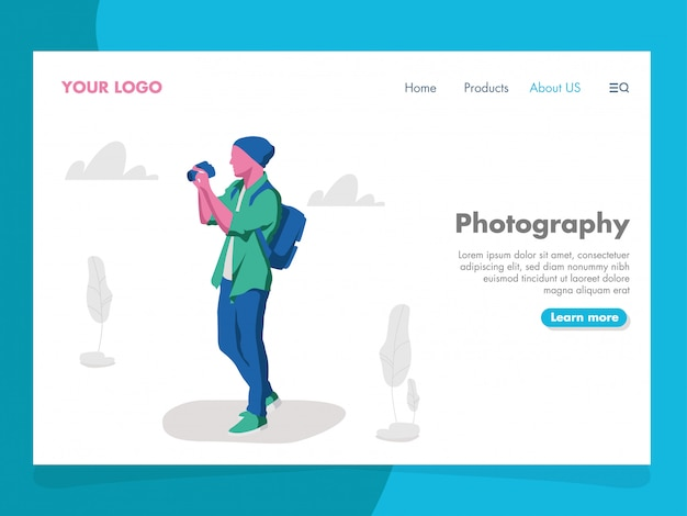 Photography illustration for landing page