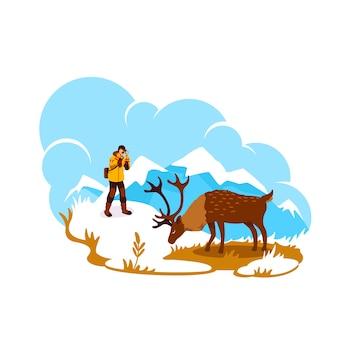 アラスカの写真2dwebバナー、ポスター。山頂の鹿。漫画の背景に野生動物写真家フラットキャラクター。エルクの自然生息地の印刷可能なパッチ、カラフルなウェブ要素