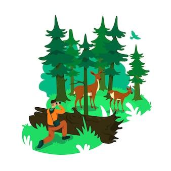 Фотография в лесу 2d веб-баннер, плакат. олени в заповедном лесу. фотограф дикой природы плоские персонажи на фоне мультфильма. нашивка для печати национального парка, красочный веб-элемент