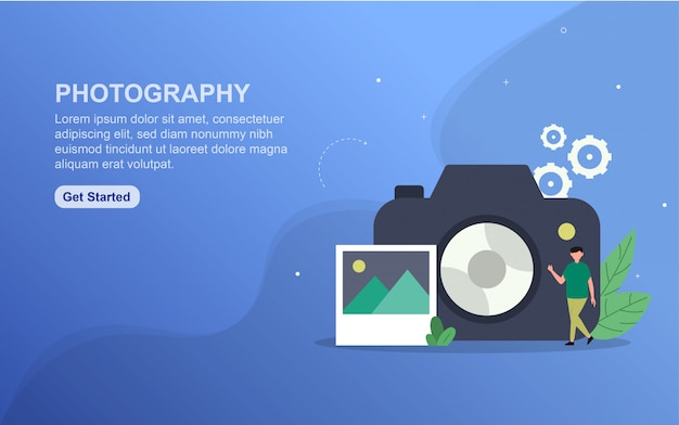 Photography landing page template. flat design concept of web page design for website.