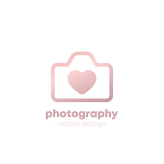 Photography logo design with camera and heart