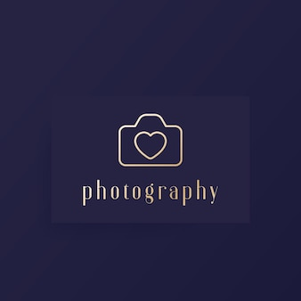 Photography logo with camera and heart, minimal design