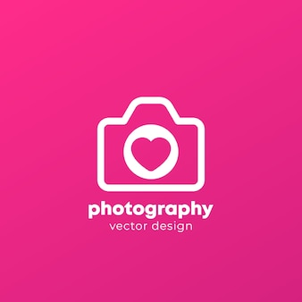 Photography logo with camera and heart,