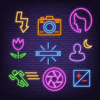 Photography neon icons