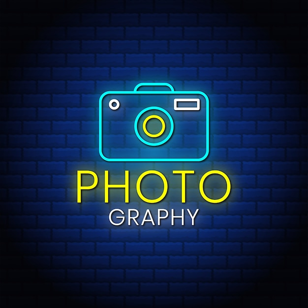 Photography neon signs style text design with camera icon.