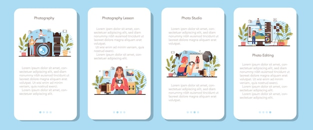 Photography school club or course mobile application banner set