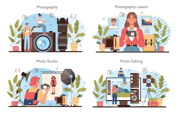 Photography school club or course set. students lerning to take photos