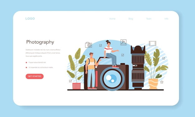 Photography school club or course web banner or landing page