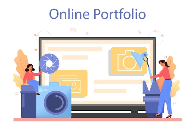写真学校コースのオンラインサービスまたはプラットフォーム Premiumベクター