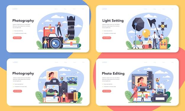 写真学校のコースのwebバナーまたはランディングページセット