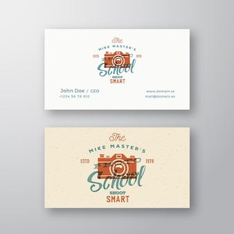 Photography school retro abstract vector logo and business card template camera with typography and ...